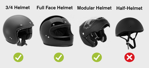 approve and non approved helmet
