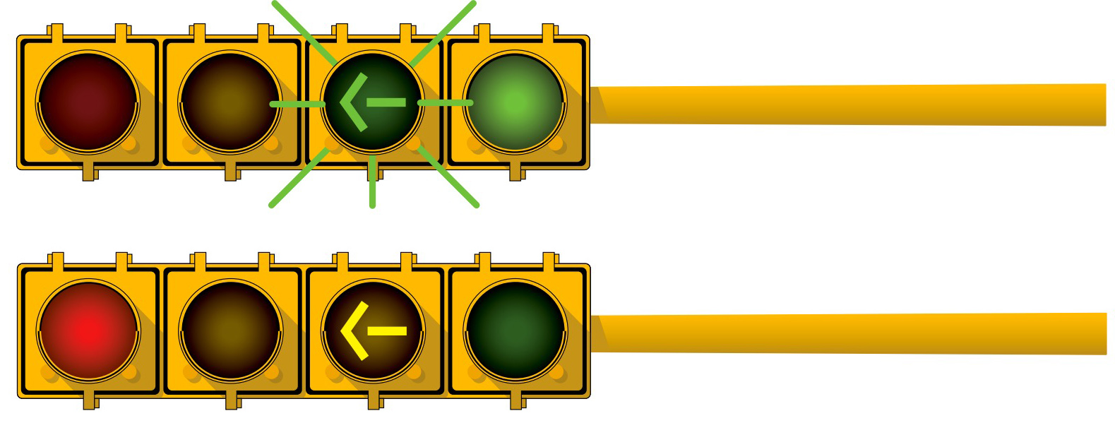 When Approaching A Red Or Green Light And A Flashing Green (left Turn)  Arrow, You May Proceed In The Direction Of The Green Arrow.