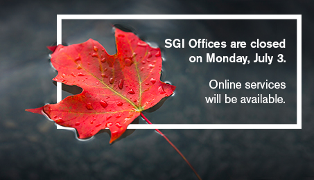 SGI offices are closed on Monday, July 3. Online services will be available.