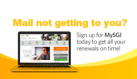 Mail not getting to you? Sign up for MySGI today to get all your renewals on time.