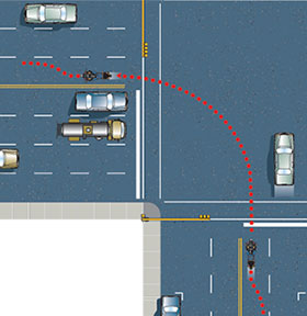 Making a proper right turn - lane opens up at intersection