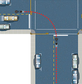 making a proper right turn - no change in lane size at intersection